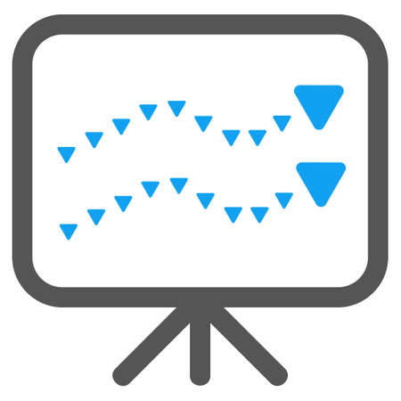 slideshow: Dotted Trends Board glyph icon. Style is bicolor flat icon symbol, blue and gray colors, white background, triangle dots.