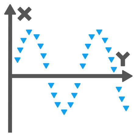 oscillograph: Dotted Sine Plot glyph icon. Style is bicolor flat icon symbol, blue and gray colors, white background, triangle dots.