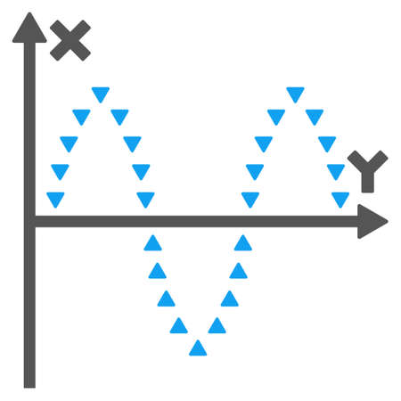 plot: Dotted Sinusoid Plot glyph icon. Style is bicolor flat icon symbol, blue and gray colors, white background, triangle dots.