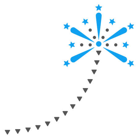Salute Fireworks Trace glyph icon. Style is bicolor flat icon symbol, blue and gray colors, white background, triangle dots.