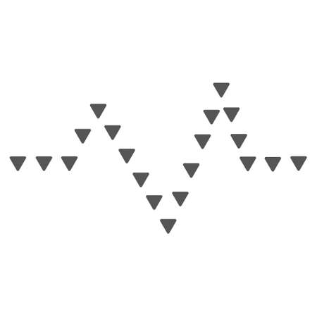 to pulsate: Dotted Pulse glyph icon. Style is flat icon symbol, gray color, white background, triangle dots.