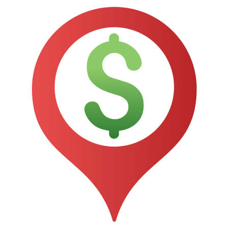 map marker: Bank Map Marker vector toolbar icon for software design. Style is a gradient icon symbol on a white background. Illustration