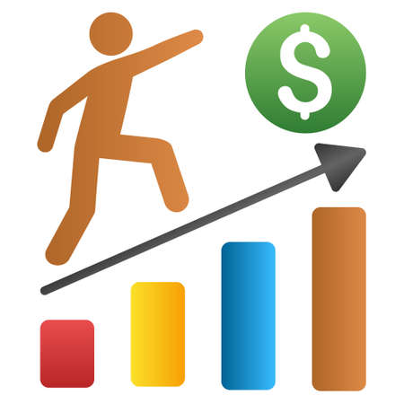 capitalist: Businessman Growth Chart vector toolbar icon for software design. Style is a gradient icon symbol on a white background.