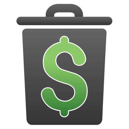 price gain: Trash Business vector toolbar icon for software design. Style is a gradient icon symbol on a white background.