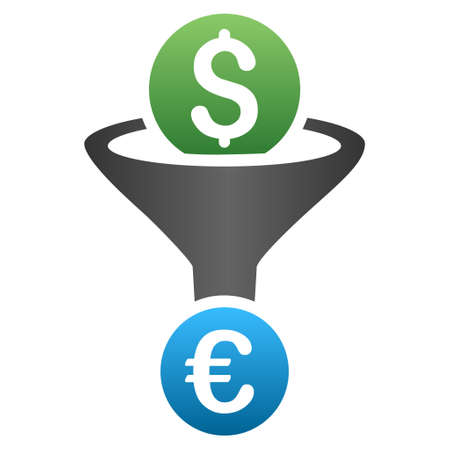 stricture: Dollar Euro Conversion Funnel glyph toolbar icon for software design. Style is a gradient icon symbol on a white background.