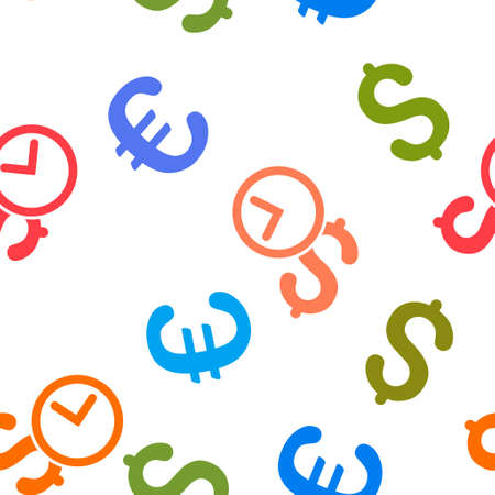 timed: Credit vector repeatable pattern with dollar and euro currency symbols. Style is flat colored icons on a white background.
