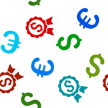 featured: Featured Price Label vector repeatable pattern with dollar and euro currency symbols. Style is flat colored icons on a white background.