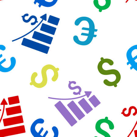 recession: Recession vector repeatable pattern with dollar and euro currency symbols. Style is flat colored icons on a white background.