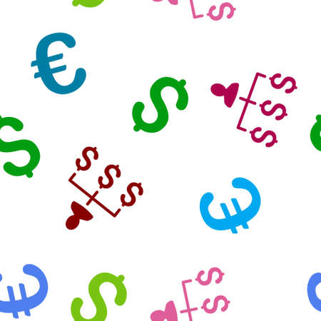 collector: Money Collector glyph repeatable pattern with dollar and euro currency symbols. Style is flat colored icons on a white background. Stock Photo