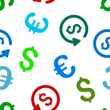 rebate: Rebate glyph repeatable pattern with dollar and euro currency symbols. Style is flat colored icons on a white background.