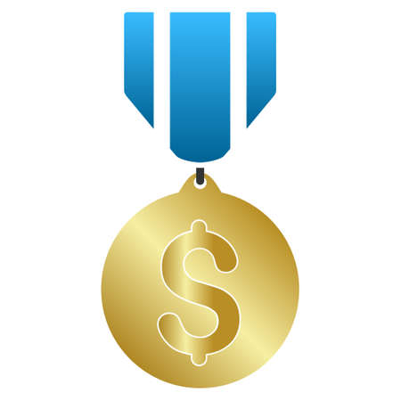 favorite number: Business Medal vector toolbar icon for software design. Style is a gradient icon symbol on a white background.