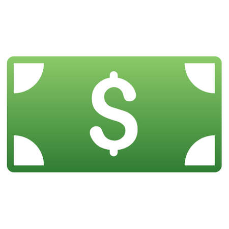 banknote: Banknote vector toolbar icon for software design. Style is a gradient icon symbol on a white background.