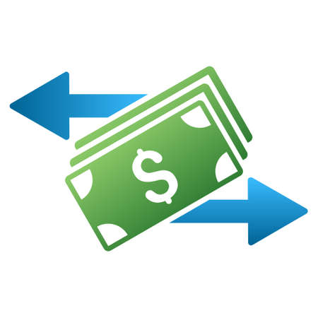bank activities: Banknotes Payments vector toolbar icon for software design. Style is a gradient icon symbol on a white background.