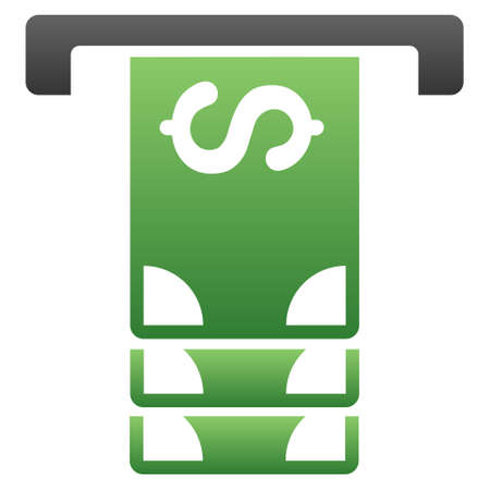 withdraw: Atm Withdraw vector toolbar icon for software design. Style is a gradient icon symbol on a white background.