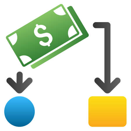 cash flow: Cash Flow vector toolbar icon for software design. Style is a gradient icon symbol on a white background.
