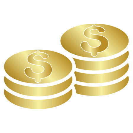 dollar coins: Dollar Coins vector toolbar icon for software design. Style is a gradient icon symbol on a white background.