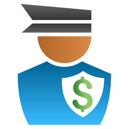 constable: Financial Policeman vector toolbar icon for software design. Style is a gradient icon symbol on a white background.