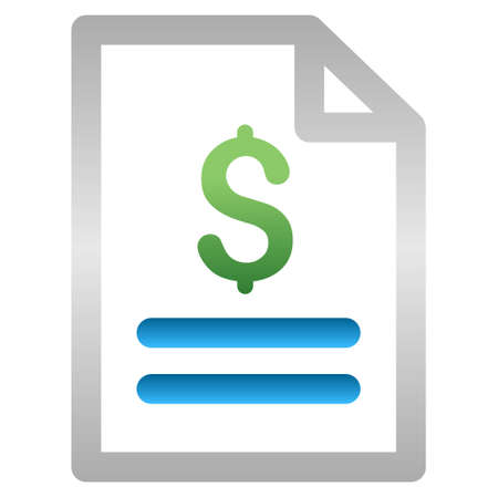 indent: Invoice vector toolbar icon for software design. Style is a gradient icon symbol on a white background. Illustration