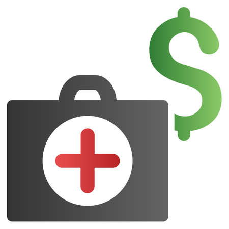 doctor with dollars: Medicine Cost vector toolbar icon for software design. Style is a gradient icon symbol on a white background.