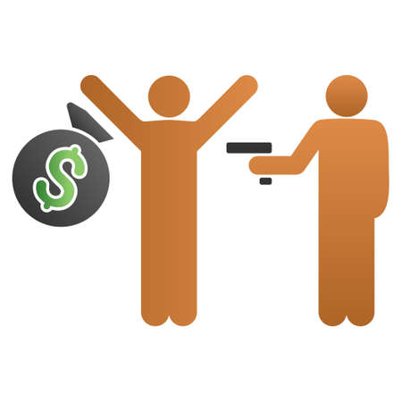 prisoner of the money: Robbery vector toolbar icon for software design. Style is a gradient icon symbol on a white background.