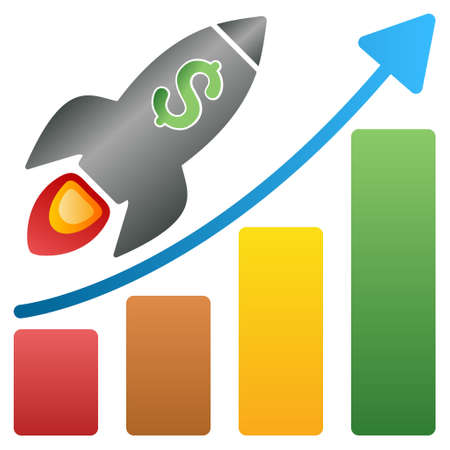 money cosmos: Rocket Business Start Bar Chart glyph toolbar icon for software design. Style is a gradient icon symbol on a white background.