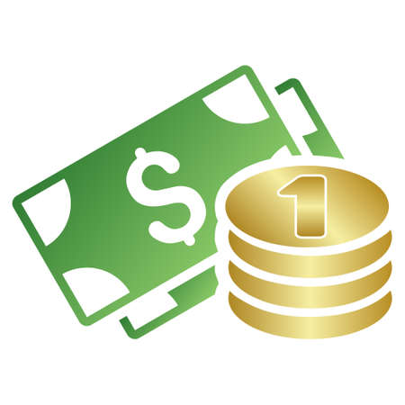 treasury: Cash vector toolbar icon for software design. Style is a gradient icon symbol on a white background.