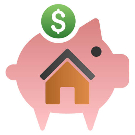 treasury: Home Savings Piggy Bank vector toolbar icon for software design. Style is a gradient icon symbol on a white background. Illustration