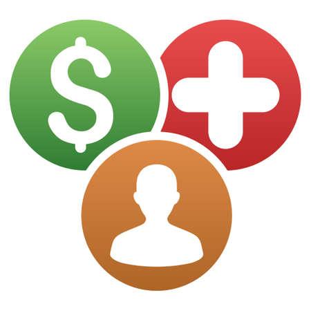 Gastos médicos personales icono de la barra de herramientas del vector para el diseño de software. El estilo es un símbolo gradiente icono sobre un fondo blanco.
