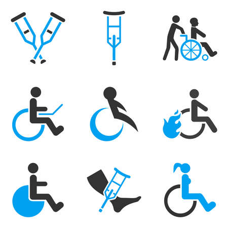 wheelchair users: Disabled Persons glyph icon set. Style is bicolor blue and gray flat symbols isolated on a white background.