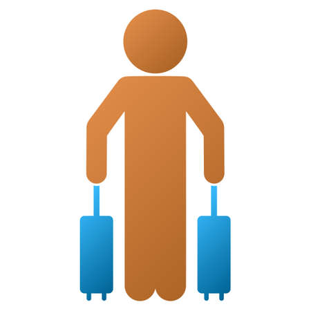 young schoolchild: Child Passenger vector toolbar icon for software design. Style is a gradient icon symbol on a white background.