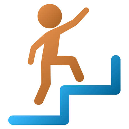 upstairs: Child Steps Upstairs vector toolbar icon for software design. Style is a gradient icon symbol on a white background. Illustration