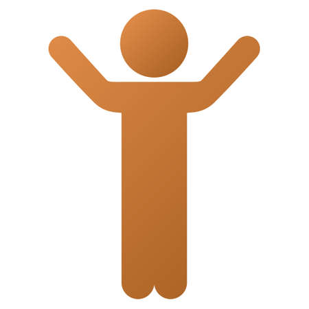 young schoolchild: Hands Up Child vector toolbar icon for software design. Style is a gradient icon symbol on a white background.