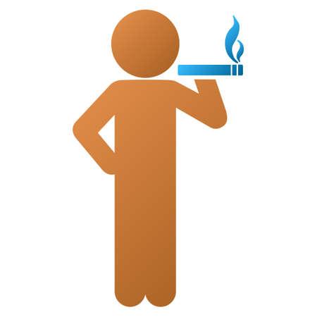 hombre fumando puro: icono de la barra de herramientas fumar vector de niño para el diseño de software. El estilo es un símbolo gradiente icono sobre un fondo blanco. Vectores