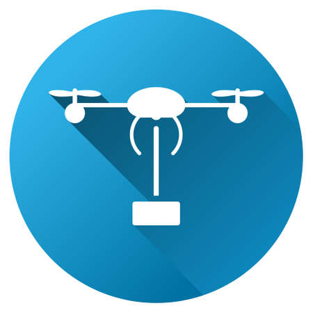 droid: Copter Shipment vector toolbar icon for software design. Style is a white symbol on a round blue circle with gradient shadow. Illustration