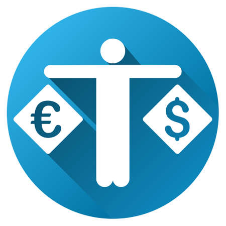 currency symbol: Currency Compare Person vector toolbar icon for software design. Style is a white symbol on a round blue circle with gradient shadow.