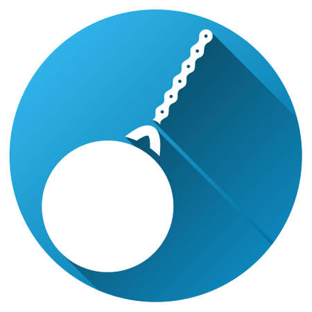 impact tool: Destruction Hammer vector toolbar icon for software design. Style is a white symbol on a round blue circle with gradient shadow. Illustration
