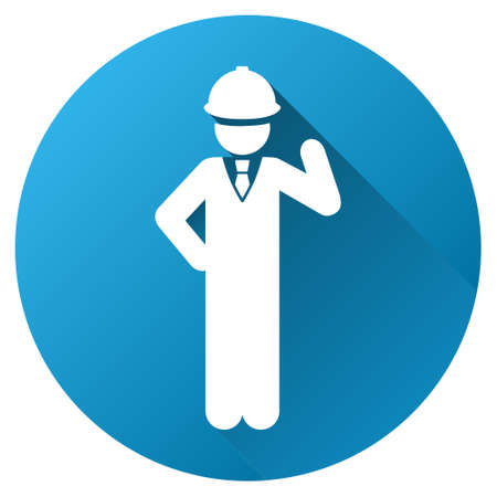 Engineer vector toolbar icon for software design. Style is a white symbol on a round blue circle with gradient shadow.