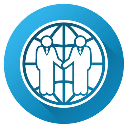global partnership: Global Partnership vector toolbar icon for software design. Style is a white symbol on a round blue circle with gradient shadow. Illustration