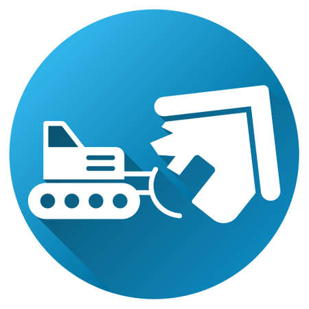 housebreaking: Home Demolition vector toolbar icon for software design. Style is a white symbol on a round blue circle with gradient shadow.