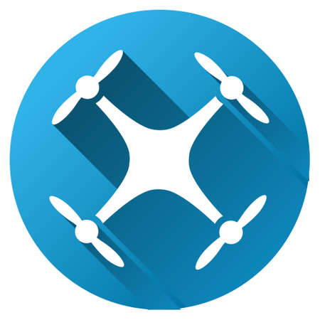 Quadcopter vector toolbar icon for software design. Style is a white symbol on a round blue circle with gradient shadow. Stock Illustratie
