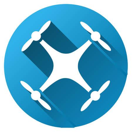 Quadcopter vector werkbalkpictogram voor software-ontwerp. Style is een wit symbool op een ronde blauwe cirkel met gradiënt schaduw. Stockfoto - 54818630