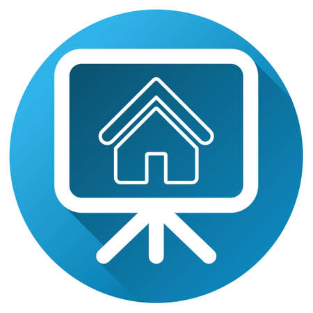 presentaion: Realty Project vector toolbar icon for software design. Style is a white symbol on a round blue circle with gradient shadow.