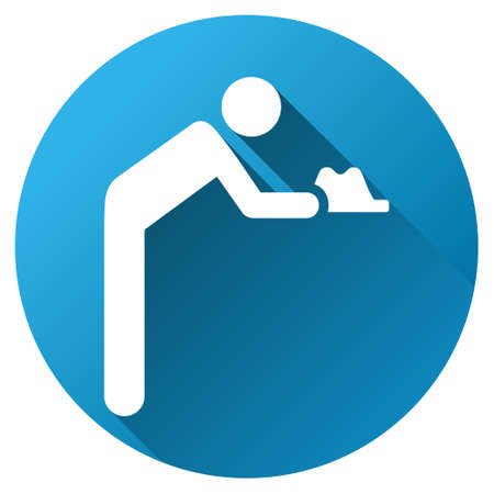Servant vector toolbar icon for software design. Style is a white symbol on a round blue circle with gradient shadow. Illustration