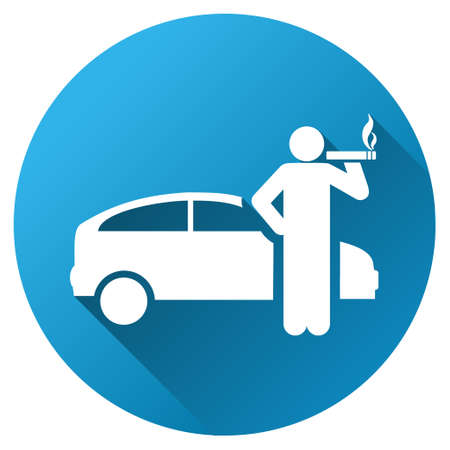 cigar shape: Smoking Taxi Driver vector toolbar icon for software design. Style is a white symbol on a round blue circle with gradient shadow.