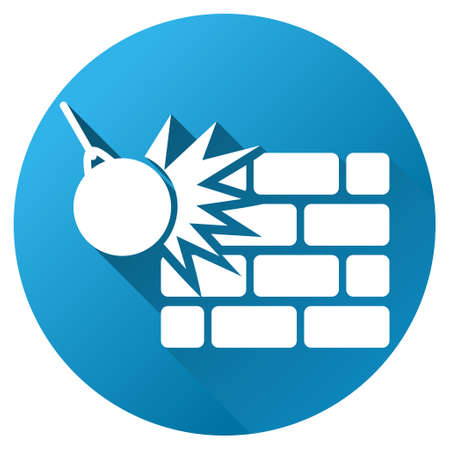 housebreaking: Wall Destruction vector toolbar icon for software design. Style is a white symbol on a round blue circle with gradient shadow.