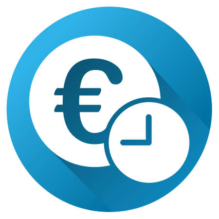 eur: Euro Credit glyph toolbar icon for software design. Style is a white symbol on a round blue circle with gradient shadow.