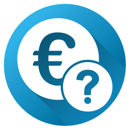 trading questions: Euro Status glyph toolbar icon for software design. Style is a white symbol on a round blue circle with gradient shadow.