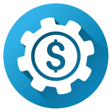 config: Payment Options glyph toolbar icon for software design. Style is a white symbol on a round blue circle with gradient shadow.