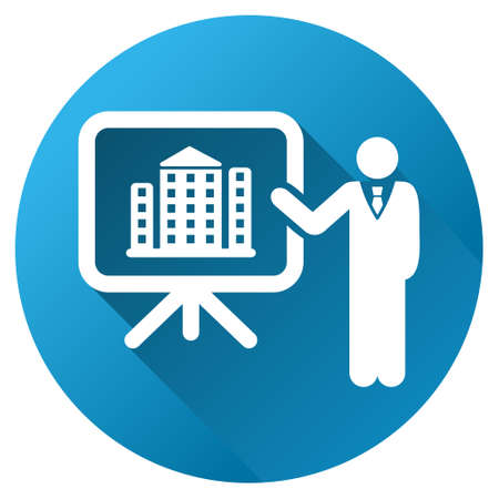 presentaion: Realty Project Presentation glyph toolbar icon for software design. Style is a white symbol on a round blue circle with gradient shadow.