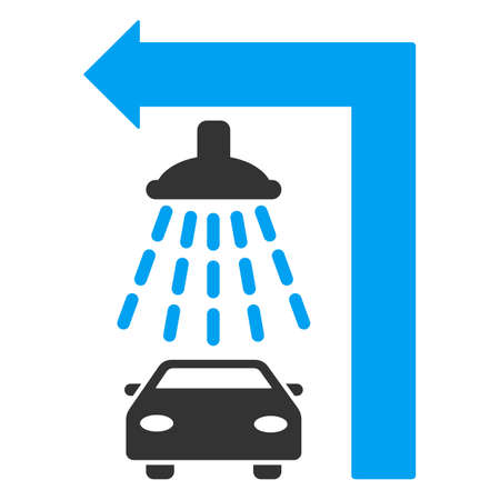 carwash: Carwash Turn Left raster illustration for street advertisement. Style is bicolor blue and gray flat symbols on a white background.